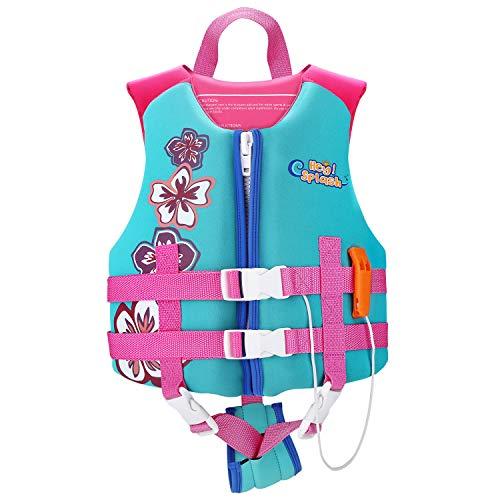 HeySplash Life Jacket for Kids (Suitable for 37-55 lb), Children Watersports Life Vest Swim Vest Flotation Device Kids Trainer Vest with Survival Whistle, Easy on and Off, Medium Size, Lake Blue