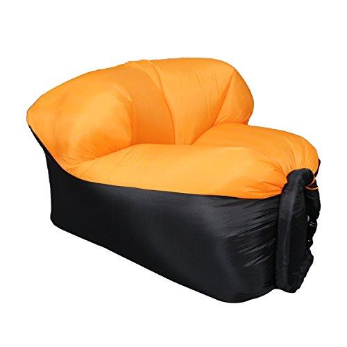 EooCoo Portable aufblasbare Sofa Stühle, Outdoor Air Sofa für Camping, Park, Strand, Hinterhof, Angeln, Schwimmen, Orange
