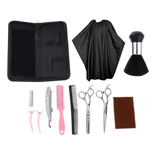 Bonarty 12 Pièces Kit de Coiffure pour Cheveux - Clips Peigne Cape Chiffon de Nettoyage Brosse de Plumeau de Cou Sac de Rangement - Blanc Ciseaux