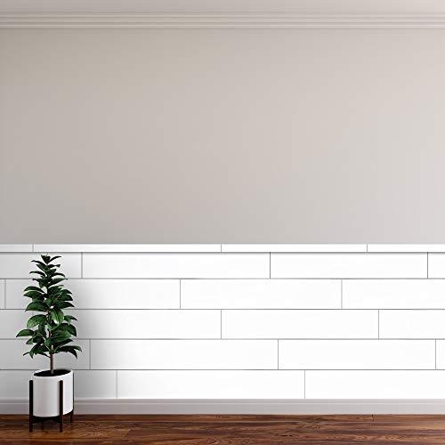 "Novogratz True Shiplap DIY Easy to Install Peel & Stick Vinyl & Real Wood Wall Panels (26.4 Sq. Ft. of 7.44"" Wide Panels) White"