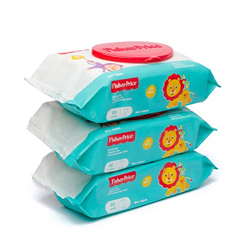 Fisher Price Baby Wipes Unscented, Alcohol and Paraben Free - Flip Top - 80 Count (Pack of 3) 240 Wipes