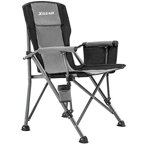 XGEAR Portable Folding Camping Chair High Back Cup Holder Hard Armrest Storage Pockets Carry Bag Included, Support 300 lbs (Cool Grey)