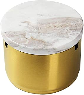Ashtray, Ashtray Stainless Steel Cigarette with Modern Lid Stainless Steel Personality Ash Storage Gift Box Living Room Room Decoration Room Decor 304 Ashtray Windproof Stainless Steel with Lid Gold,