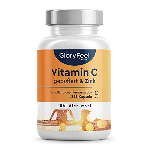 Vitamin C Hochdosiert 1000mg + 20mg Zink - Pflanzlich fermentiert & gepuffert (pH-neutral, säurefrei, magenschonend) - 365 Kapseln - Laborgeprüft, vegan ohne Zusätze in Deutschland hergestellt