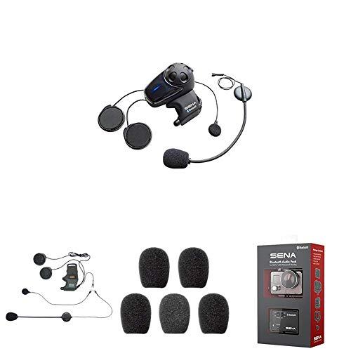 SMH10-11 Bluetooth-Headset und Gegensprechanlage + SMH-A0302 Helmklemmenset - Anbringbares Bügelmikrofon + SC-A0109 Mikrofonaufsätze + GP10-02 Bluetooth Audio-Pack & Zubehör