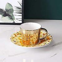 WRJ Platillos De Cerámica Esmalte De Color Amarillo En Forma De Platillo Taza De Café De Cuchara Conjunto Bone Bone Luz del Té Platillo Conjunto Europea,7