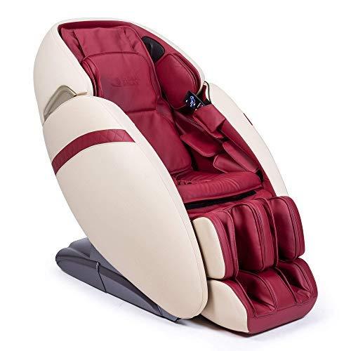 """SAMADHI® Sillón de Masaje 2D+ Rojo (Nuevo Modelo 2021) - Tecnología Gravedad """"Cero"""" y Espacio """"Cero"""" - 6 Modos de Masaje Profesional - Generador de Iones de oxígeno - Sonido 3D Bluetooth - USB"""