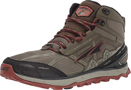 ALTRA Men's ALM1855H Lone Peak 4 Mid Mesh Trail Running Shoe, Ivy Green/Red Clay - 8.5 M US