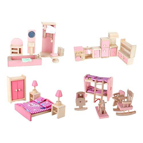 EPRHY 4 Set Puppenhausmöbel Kinderspielzeug Badezimmer Kinderzimmer Küche Set 商品名称