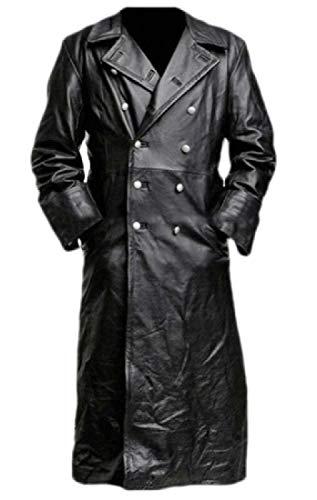 H.Wang Men Single-Breasted Jacket Coat Windbreaker Trench Coat Outdoor Jackets Black M