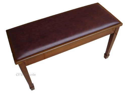 Find Bargain Genuine Leather Walnut Concert Grand Duet Piano Bench Stool with Music Storage