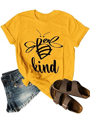 Dresswel Be Kind Tshirt Women Short Sleeve T-Shirt Bee Graphic Tee Long Sleeve Pocket Shirt Casual Tops