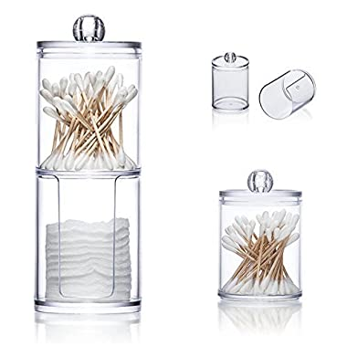 Cotton Pads Holder Vinmax Swabs Holder Clear Q-tips Cotton Pads Double Layer Round Box Bathroom Makeup Containers Organizers-Time Saving