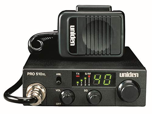 Uniden PRO510XL Pro Series 40-Channel CB Radio. Compact Design. Backlit LCD Display. Public Address. ANL Switch and 7 Watts of Audio Output. Unique PLL Circuit. S/RF LED Meter. , Black