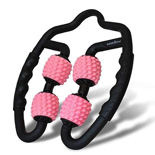 easeZone Muskel-Massageroller, Faszienrolle & Massage-Gerät mit Griff für Selbstmassage. Triggerpunkt & Faszien-Roller für Nacken, Arme, Beine, Oberschenkel, Wade. Anti Cellulite Entspannung (pink)