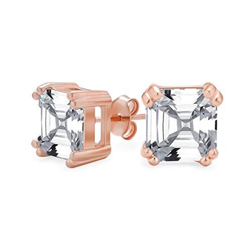 Cubic Zirconia Solitario Cuadrado AAA CZ Asscher Corte Stud Pendientes para mujeres rosa oro plateado 925 plata de ley