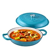 Bruntmor Enameled Cast Iron Cookware Shallow Casserole Braiser Pan, with Steel Knob Cover and Double Loop Handle. Round Cast Iron Covered Casserole Skillet with lid for Oven, 3.8-Quart, Marine Blue
