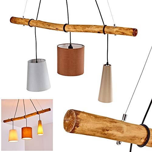 Pendelleuchte Seegaard, Hängelampe aus Holz u. Leuchtenschirmen aus Stoff in Grau/Rotbraun/Natur, 3-flammig, 3 x E27 max. 60 Watt, moderne Hängeleuchte geeignet für LED Leuchtmittel