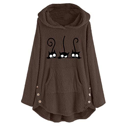 VEMOW Sudaderas con Capucha Mujer Lana Bordado Talla Extra Calentar Pullover Parte Superior Botón Suéter Blusa Tops Camisa OtoñO Invierno(marrón,3XL)
