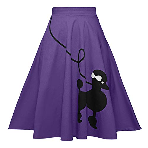 ZEZCLO Women Poodle Skirt 50s Vintage Pleated A-line Zipper Skirts Purple M