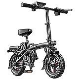 J&LILI E-Bicicleta Plegable Pedal Auxiliar Bicicleta Eléctrica 400W con Batería De Litio 48V Bicicleta Eléctrica De 14 Pulgadas Ciudad Efahrrad, Velocidad Máxima 25Km / H,50~60km