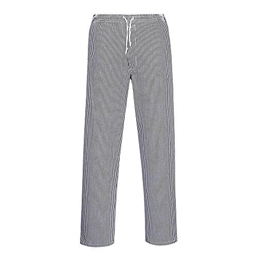 Portwest Pantalon de Cuisine Bromley, Taille Normale, Couleur: Bleu Black échiquier, Taille: XXL, C079CHRXXL