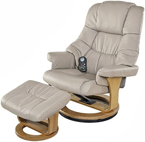 Best Relaxzen 8 Motor Massage Recliner with Heat and Ottoman, Beige and Wood Base