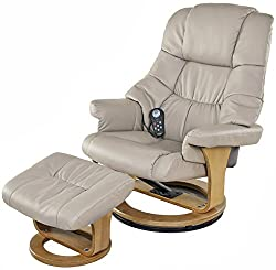 powerful Relaxzen 60-079008 8 electric massage chairs with heating and ottoman, beige and wooden base