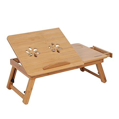 Cama Lap Desk Multifunción Lapdesk Patas Ajustables Plegables Mesa de Desayuno Inclinación con Cajón de Almacenamiento Madera de Bambú para El Hogar Accesorios para Dormitorios