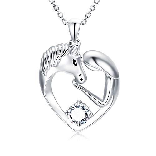 Pferde Kette Sterling Silber Damen Herz Anhänger Halskette mit Swarovski-Kristalle, Pferde Schmuck Geburtstagsgeschenk für Mädchen Frauen