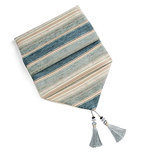 Wenzi-day Table Runners Colorful Stripes with Tassels Chenille Canvas Fabric Table Top Decoration Home for Outdoor Wedding Party,33cmx180cm,Teal