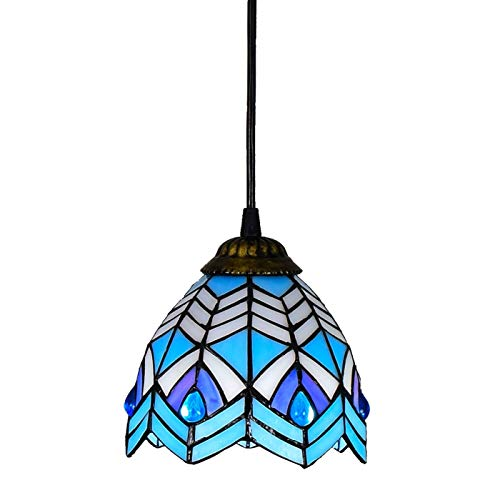 Candelabros de color - 6- 'Tiffany Style Small Piedent Lamp Blue Phoenix Beads Glass Colgante Light Techo Colgante Lámpara de Lámpara Sombra, Para Comedor Kitchen Island Bedroom, E26 / E27 Luces creat