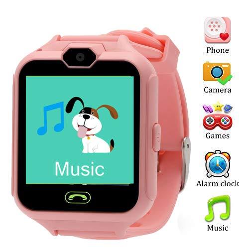 Smart Watch per bambino, Winnes Niño La Musica e 7 giochi Smart Watch Phone, 2 vie Call/Call Sveglia SOS per orologio Boy and Girl 3-12 anni (rosa)