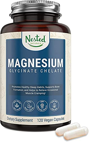 Nested Naturals – Magnesium Glycinate Chelate Supplement 200mg High Absorption Vegan Capsules for Muscle Leg Cramps Stress Relief Sleep – 100% Chelated TRACCS Not Buffered Gluten-Free Non-GMO