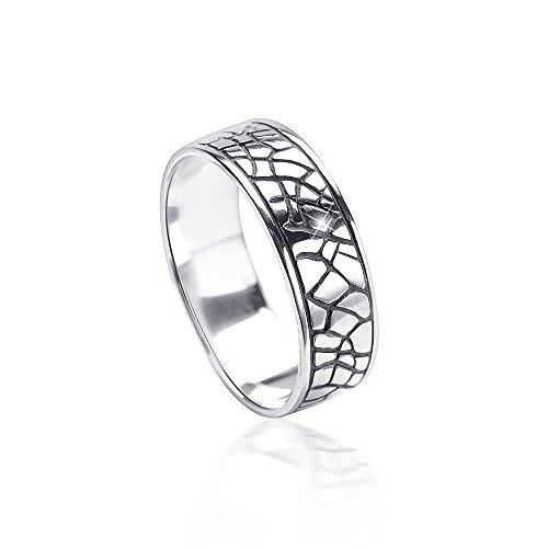 MATERIA Damen Herren Ring Schlange 925 Silber antik breit 6mm deutsche Fertigung #SR-120, Ringgrößen:62 (19.7 mm Ø)