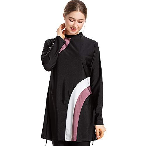 CaptainSwim Neue Muslimische Badebekleidung für Frauen Mädchen Vollständige Abdeckung Burkini Badeanzug Set Islamischer Hijab Bescheiden Strandkleidung Schwimmen Passen Kostüm (6XL, Schwarz)