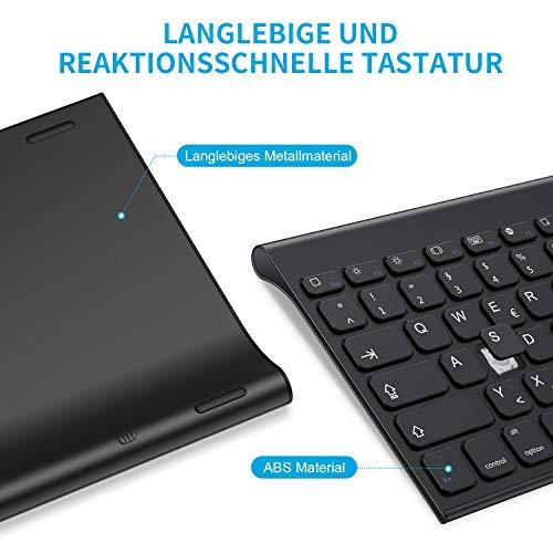 OMOTON aufladbare Bluetooth Tastatur, kabellose Tastatur für iPad 10.2 2019, iPad Pro 11/12.9 (2018/2020), iPad Air 3/2/1, iPad Pro 10.5 und andere iOS Gerät, Schwarz
