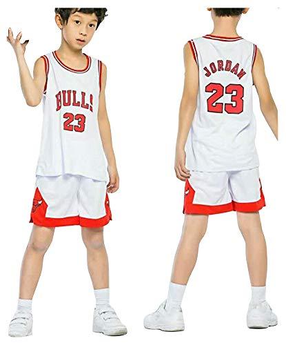 Bulls Jordan # 23 Basketballtrikots für Kinder Jungen Mädchen Jugend, Sommershorts Mädchen Top Größe Alter 3-14 Jahre Weste Shorts Kit Set-White-XL