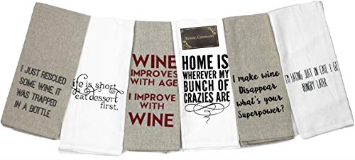 Rustic Covenant Woven Cotton Wine and Food Funny Sayings Tea Towels, 25 inches by 15 inches, Set of 6