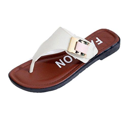 FNKDOR Damen Pantoffeln Slipper Sommer Flache Hausschuhe (40, Weiß)