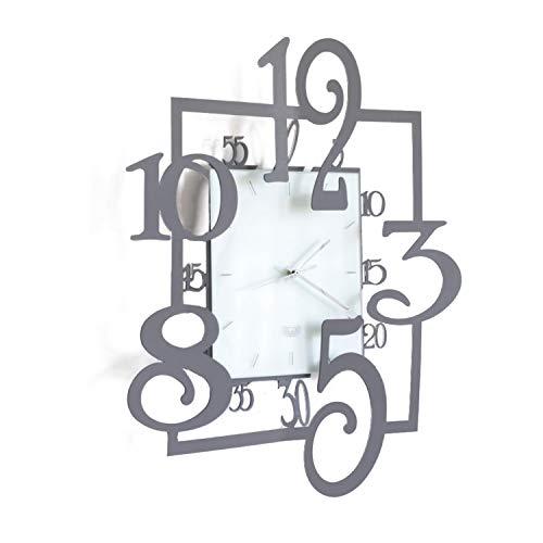 Arti & Mestieri Amos - Horloge murale design 100 % fabriquée en Italie - En fer - 50 x 5 x 50 cm - Ardoise