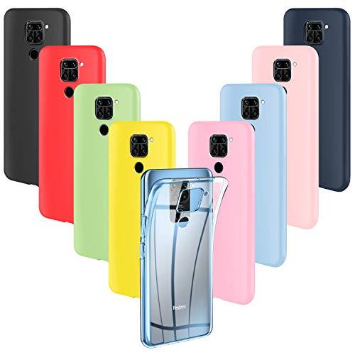 ivencase 9 × Funda Xiaomi Redmi Note 9, Carcasa Fina TPU Flexible Cover para Xiaomi Redmi Note 9 (Rosa, Verde, Púrpura, Rosa Claro, Amarillo, Rojo, Azul Oscuro, Translúcido, Negro)