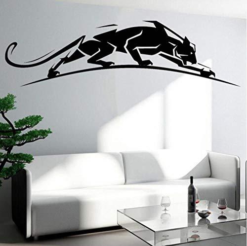 Pegatinas Etiqueta De Pared Geométrico Animal Salvaje Leopardo Panthera Caminar Sala De Estar Niños Guardería Dormitorio Decoración Del Hogar Vinilo 106×30cm
