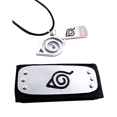 Cosplay Leaf Village Headband Set Suitable for Adults and Kids. Black Leaf Village Headband /& Alloy Leather Bracelet with Finger Ring A Great Accessory Set for Ninja-Themed Costume Cosplay