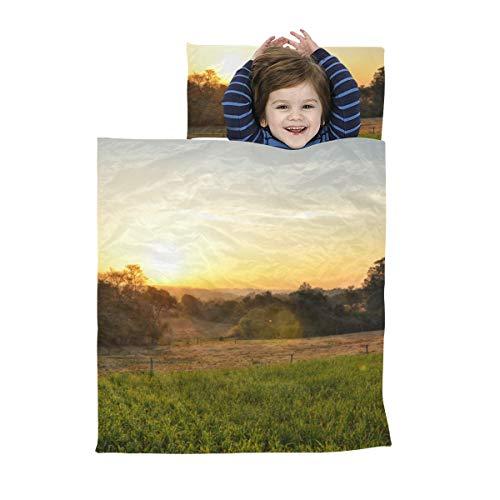 Kinder reisen Schlafsack Schöner Sonnenuntergang auf dem Bauernhof Kinder Nickerchen Matte Jungen Weiche Mikrofaser Leichte Vorschul Nickerchen Matten Perfekt für Vorschule, Kindertagesstätte und Übe