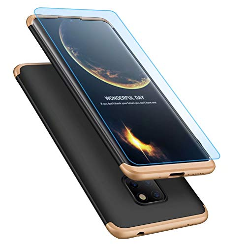 MISSDU replacement for Case Huawei Mate 20 pro Case Ultra-Thin Case with [Tempered Glass Screen Protector] Simple Stylish Fully Protective Cover - black gold