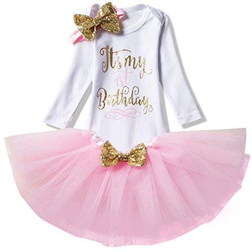 NNJXD Mädchen Neugeborene Es ist mein 1. Geburtstag 3 Stück Outfits Strampler + Rock + Stirnband Größe (1) 1 Jahre Rosa 1
