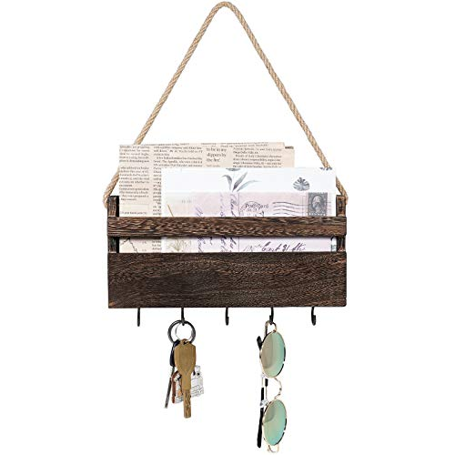 Dahey Small Key Holder for Wall Rustic Wooden Key Rack Hanger Mail Organizer Wall Mount with 5 Hooks for Organizing Keys Mail Bill Letter and Other Small Objects Entryway Farmhouse Home Decor, Brown