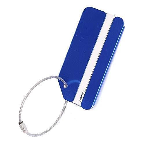 Ogquaton Aluminium Gepäckanhänger Reisegepäckanhänger Koffer-ID-Adressaufkleber mit Verriegelungskabeln Blau Umweltfreundlich und praktisch