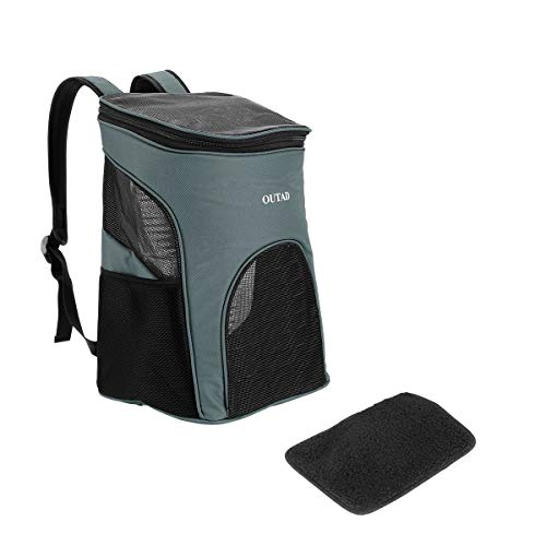Greatangle OUTAD Breathable Ventilated Stylish Small Animal Ultra-soft Liner Pet Carrier Mesh Backpack With Side Storage Compartment Black & light green